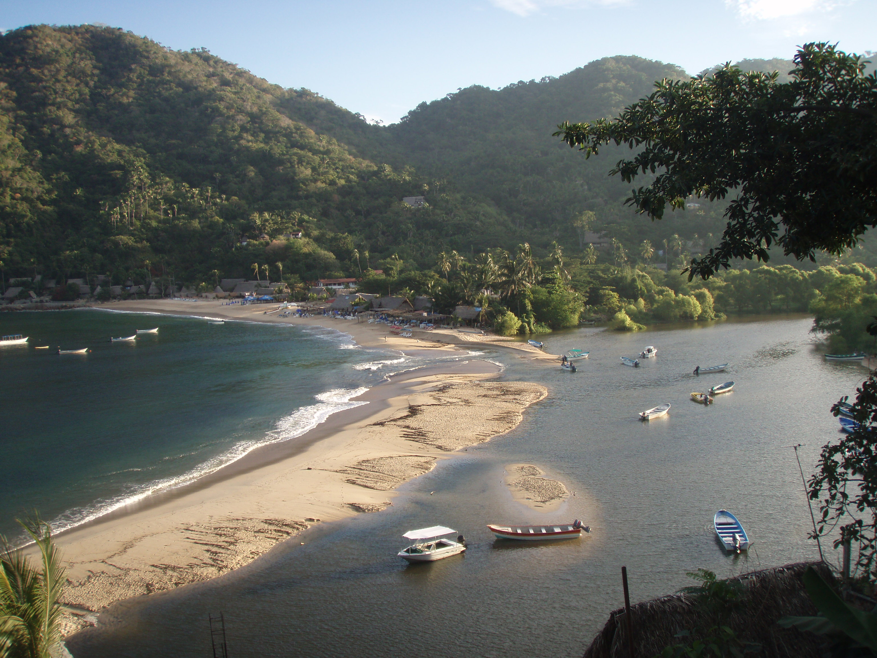 Main beach (La Playa).  The river comes in from the right